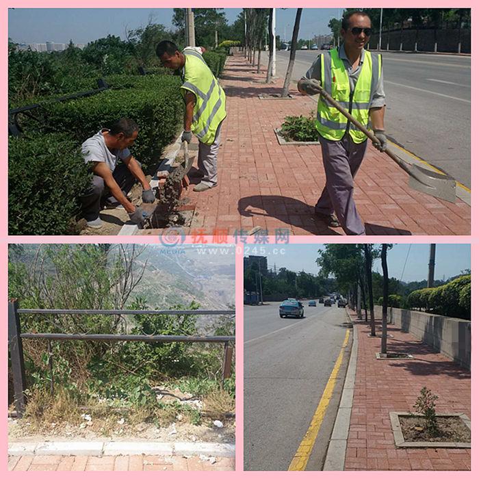 新抚区南昌路坑边道路美化 重铺人行道安装木塑护栏