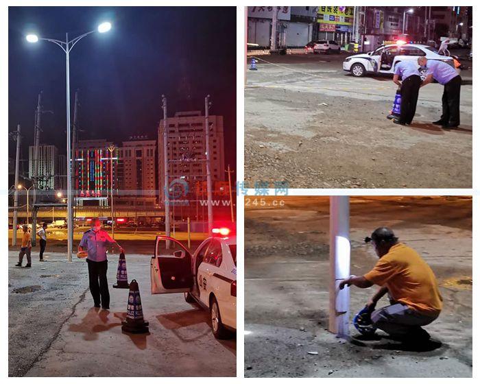 路灯杆漏电电了宠物狗 民警和维修人员紧急排险