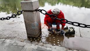 劳动公园湖边护栏维修快完工了 正镶嵌夜光石